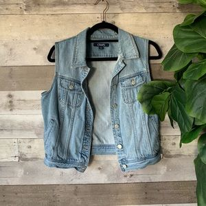 Chaps Jean Denim Jacket Vest Large